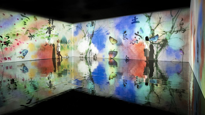 Two people walking on a reflective surface while a pattern of flowers and butterflies appears on walls around them