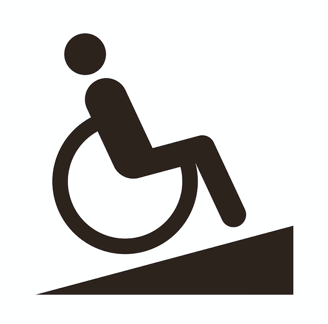 An icon of a wheelchair user going uphill